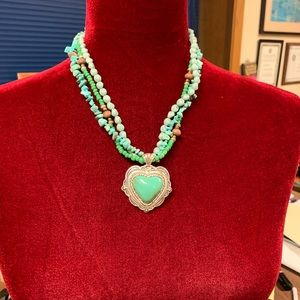 Jewelry - 3 strand necklace with faux turquoise heart